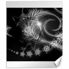 Silver Feather And Ball Decoration Canvas 8  X 10