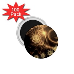 Golden Feather And Ball Decoration 1 75  Magnets (100 Pack)