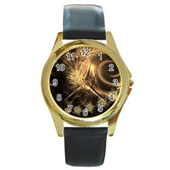 Golden Feather And Ball Decoration Round Gold Metal Watch by picsaspassion