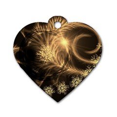 Golden Feather And Ball Decoration Dog Tag Heart (two Sides)