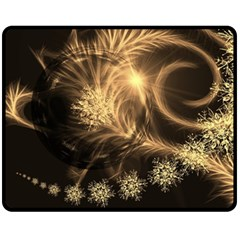 Golden Feather And Ball Decoration Fleece Blanket (medium)  by picsaspassion