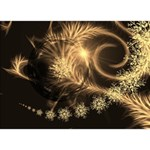 Golden feather and ball decoration Circle 3D Greeting Card (7x5) Front