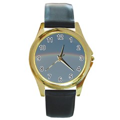 Colorful Rainbow Round Gold Metal Watch by picsaspassion