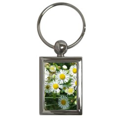 White Summer Flowers, Watercolor Painting Key Chains (rectangle)