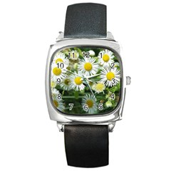 White Summer Flowers, Watercolor Painting Square Metal Watch by picsaspassion