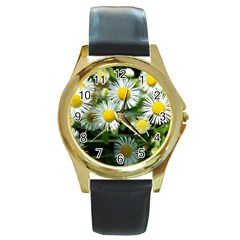 White Summer Flowers Oil Painting Art Round Gold Metal Watch by picsaspassion