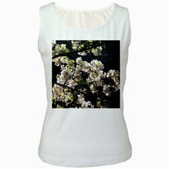 Japanese Cherry Blossom Women s White Tank Top by picsaspassion