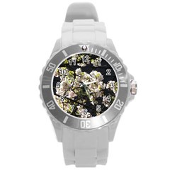 Japanese Cherry Blossom Round Plastic Sport Watch (l) by picsaspassion