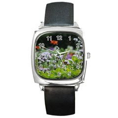 Wild Flowers Square Metal Watch