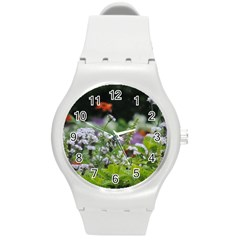 Wild Flowers Round Plastic Sport Watch (m)