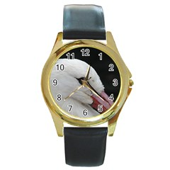 Wild Stork Bird, Close Up Round Gold Metal Watch