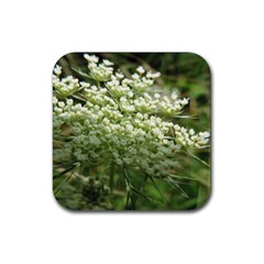 White Summer Flowers Rubber Coaster (square)  by picsaspassion