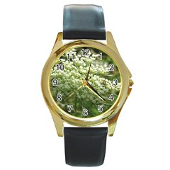 White Summer Flowers Round Gold Metal Watch by picsaspassion