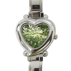 White Summer Flowers Heart Italian Charm Watch