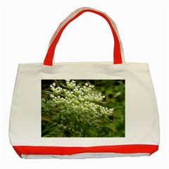 White Summer Flowers Classic Tote Bag (red) by picsaspassion