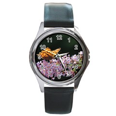Butterfly Sitting On Flowers Round Metal Watch
