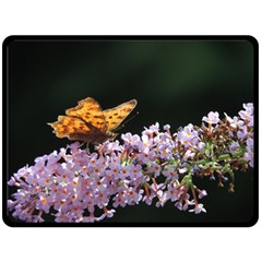 Butterfly Sitting On Flowers Fleece Blanket (large)