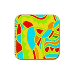 Colorful Decor Rubber Square Coaster (4 Pack)  by Valentinaart