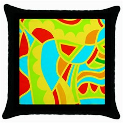 Colorful Decor Throw Pillow Case (black) by Valentinaart