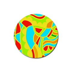 Colorful Decor Rubber Round Coaster (4 Pack)  by Valentinaart