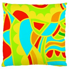 Colorful Decor Large Cushion Case (two Sides) by Valentinaart