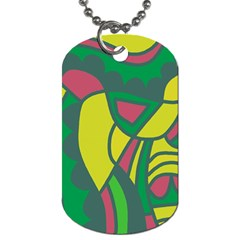 Green Abstract Decor Dog Tag (two Sides) by Valentinaart