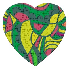 Green Abstract Decor Jigsaw Puzzle (heart) by Valentinaart