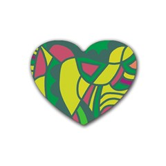 Green Abstract Decor Rubber Coaster (heart)  by Valentinaart