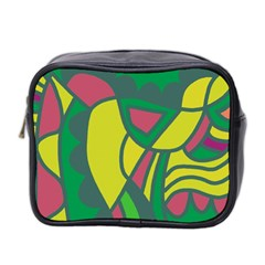 Green Abstract Decor Mini Toiletries Bag 2 Side
