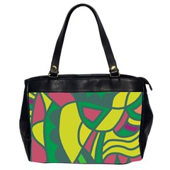 Green Abstract Decor Office Handbags (2 Sides)  by Valentinaart