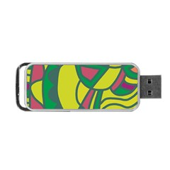 Green Abstract Decor Portable Usb Flash (two Sides) by Valentinaart