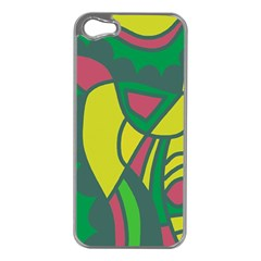 Green Abstract Decor Apple Iphone 5 Case (silver) by Valentinaart