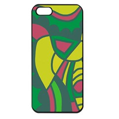 Green Abstract Decor Apple Iphone 5 Seamless Case (black) by Valentinaart