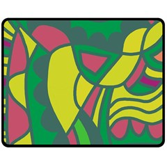 Green Abstract Decor Double Sided Fleece Blanket (medium)  by Valentinaart