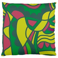 Green Abstract Decor Large Flano Cushion Case (one Side) by Valentinaart