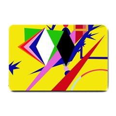 Yellow Abstraction Small Doormat  by Valentinaart