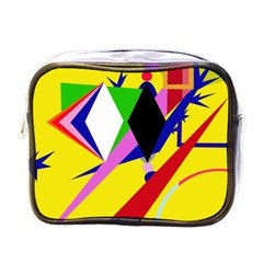 Yellow Abstraction Mini Toiletries Bags by Valentinaart