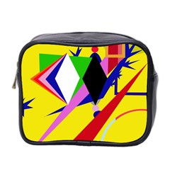Yellow Abstraction Mini Toiletries Bag 2 Side by Valentinaart