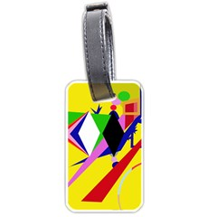 Yellow Abstraction Luggage Tags (one Side)  by Valentinaart