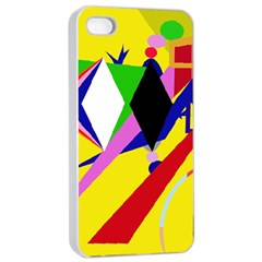 Yellow Abstraction Apple Iphone 4/4s Seamless Case (white)