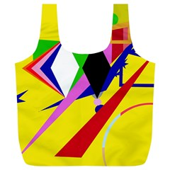 Yellow Abstraction Full Print Recycle Bags (l)  by Valentinaart
