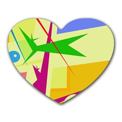 Colorful Abstract Art Heart Mousepads by Valentinaart