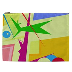 Colorful Abstract Art Cosmetic Bag (xxl)  by Valentinaart