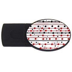 Dots And Lines Usb Flash Drive Oval (4 Gb)  by Valentinaart