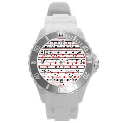 Dots And Lines Round Plastic Sport Watch (l) by Valentinaart