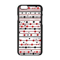 Dots And Lines Apple Iphone 6/6s Black Enamel Case by Valentinaart