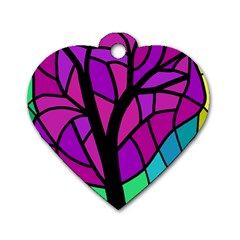 Decorative Tree 2 Dog Tag Heart (one Side) by Valentinaart