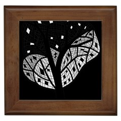 Black And White Tree Framed Tiles by Valentinaart
