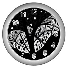 Black And White Tree Wall Clocks (silver)  by Valentinaart