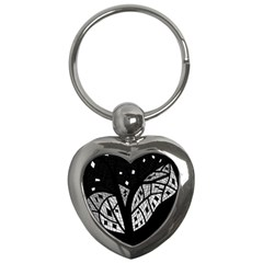 Black And White Tree Key Chains (heart)  by Valentinaart